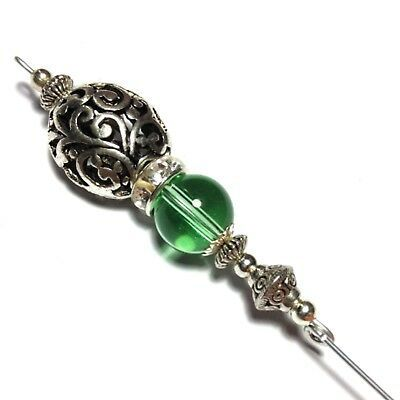 Ebay Ad Silver Hat Pin Antique Vintage Style Green Glass Bead 5 End Protector Nature Inspired Handmade Jewelry Silver Hats Hat Pins