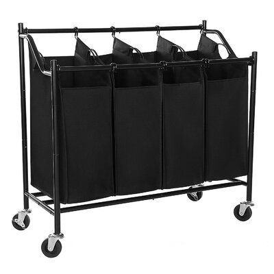 Rebrilliant Rolling Divided Laundry Hamper Cart In 2020 Laundry Sorter Storage Cart Laundry Cart