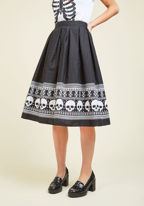 Happy Skull-idays Skirt. Upgrade your red-and-green garb for this black circle…