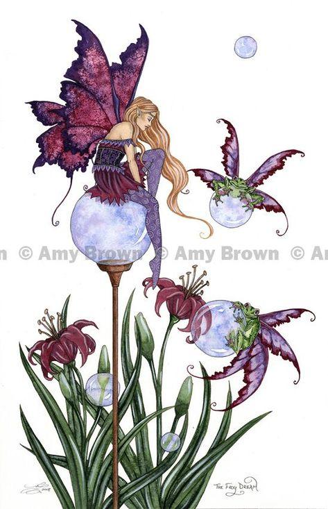 AMY BROWN NEW /&MINT FAIRY POSTCARD//MINI ART PRINT BUTTERFLY MASQUERADE FAIRY FAE