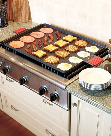 Jumbo Carbon Steel Complete Stove Burner Coverage Griddle Only 10 In Stock Order Today! Product Description: Quickly cook several items at the same time on this Jumbo Griddle. The spacious surface is Kitchen Pantry, New Kitchen, Kitchen Dining, Kitchen Ideas, Kitchen Decor Themes, Kitchen Stuff, Kitchen Storage, Cooking Gadgets, Kitchen Gadgets