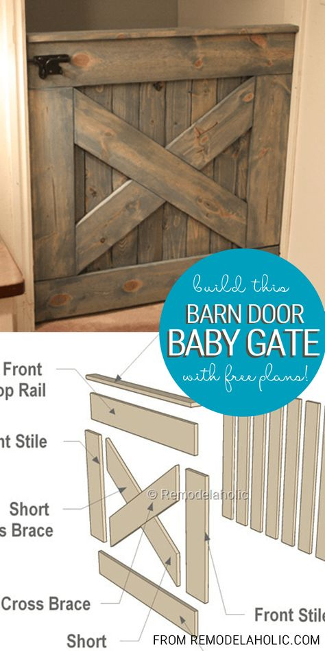 DIY Wooden Barn Door Baby Gate Building Plans Keep kids safe in a stylish way. Make your own DIY Wooden Baby Gate, Barn Door, Planked X, By Barn Door Baby Gate for Stairs Baby Gate For Stairs, Barn Door Baby Gate, Diy Baby Gate, Baby Barn, Door Gate, Diy Dog Gate, Baby Door, Pet Door, Porch Gate