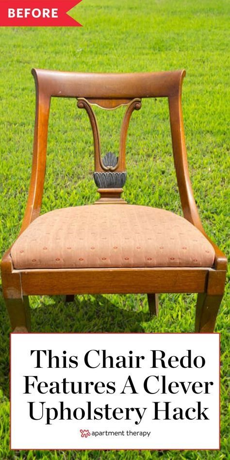 This chair redo features a clever upholstery hack. #chair #chairrenovation #chairredo #chairideas #vintage #vintagechair #reupholster #upholstery
