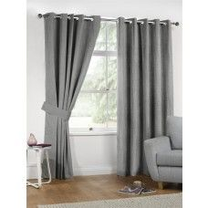 90x90in (228x228cm) Silver Grey Linen Look Eyelet Curtains