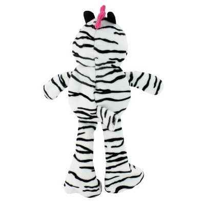 Punk Rock Zebra Squeaks Plush Dog Toy White Small Boots