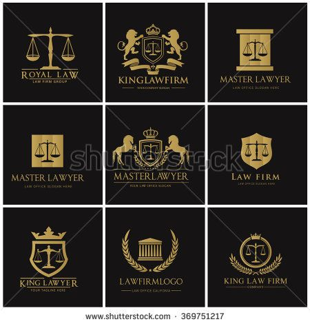 Lawyer Law Firm Logo Set Stock Vector (Royalty Free) 369751217