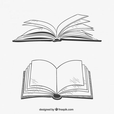 #opened #vector #books #drawn #style #hand #free #inOpened books in hand drawn style Free Vector