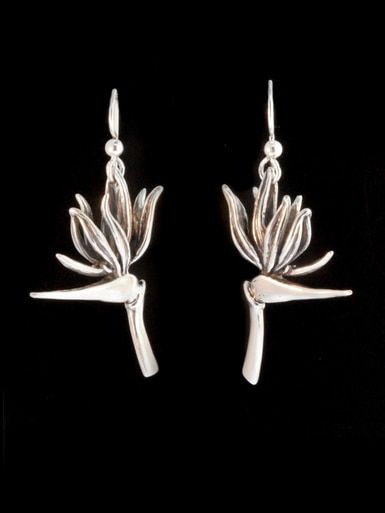 Bird Of Paradise Flower Earrings Silver In 2020 Silver Flower Earrings Birds Of Paradise Flower Birds Of Paradise