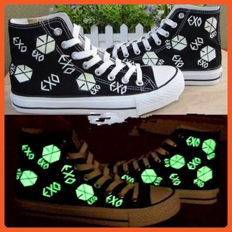 Exo Kpop Sbs Fluorescent Shoes Canvas Board Shoes Custom Made