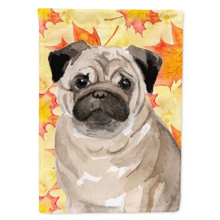 Fawn Pug Fall Flag Canvas House Size Fall Garden Flag Fawn Pug