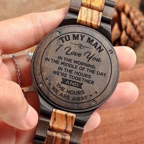 Great Gift For Husband Engraving Wooden Watch | Perfect Present For Man
