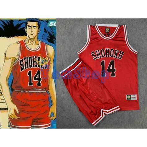 804d234e273 27.89$ Buy here - Anime Slam Dunk Cosplay Costume SHOHOKU #14 Hisashi  Mitsui Red Basketball Jersey and Shorts Sportswear Athletic Team Uniform  #buymethat