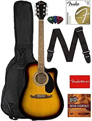 Amazon Com Fender Fa 125ce Dreadnought Cutaway Acoustic Electric Guitar Sunburst Bundle With Acoustic Electric Guitar For Beginners Beginner Electric Guitar