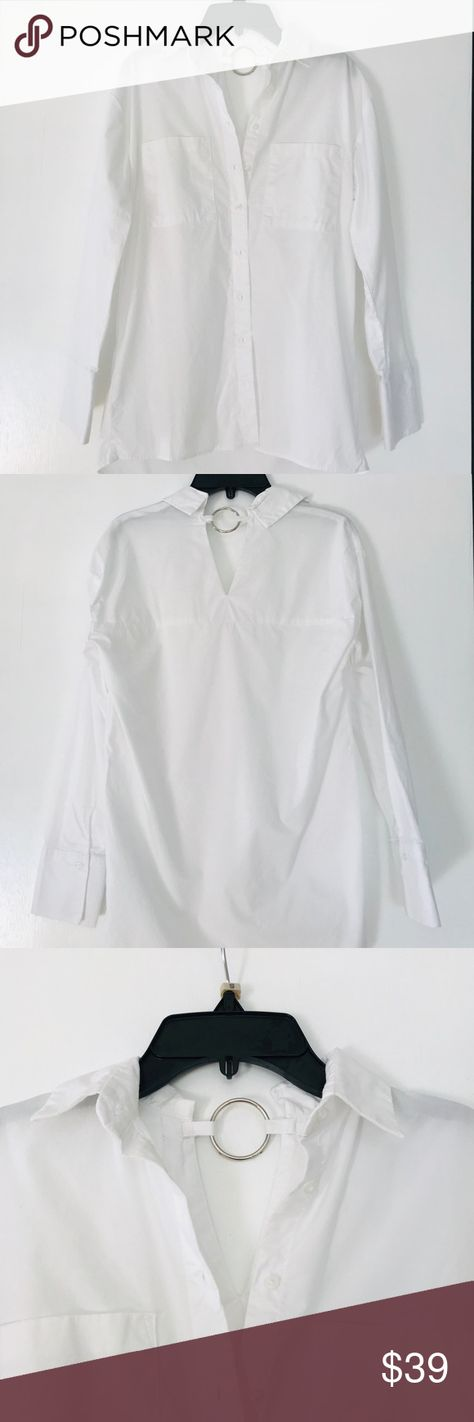 Primark Asymmetric White Cotton Button Down Blouse Worn once! Perfect condition ...#asymmetric #blouse #button #condition #cotton #perfect #primark #white #worn