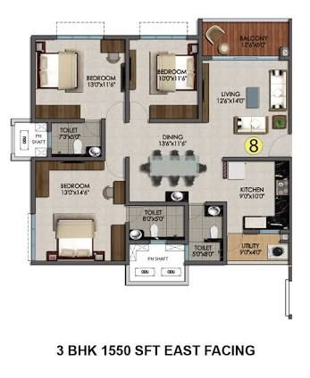 Image Result For 2 Bhk Floor Plan With Pooja Room Floor Plans Pooja Rooms Modern House Plans