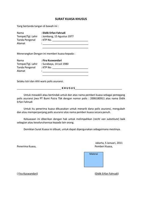 Contoh Surat Kuasa Untuk Pengambilan Berkas - Contoh.Lif.co.id