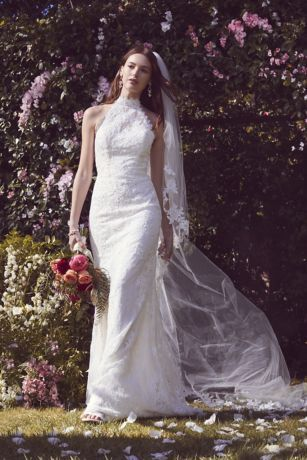 Lace High Neck Halter Sheath Wedding Dress David S Bridal