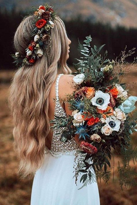 Bohemian fall wedding in the Mountains. Wedding bouquet made with wild, fresh flowers in fall colouring. White Chiffon Long Wedding Dress with White Pearls, Summer Wedding Dress Boho Wedding Dress Fall Wedding Bouquets, Floral Wedding, Wedding Colors, Boho Wedding Flowers, Elegant Wedding, Boho Flowers, Flower Crown Wedding, Rustic Flowers, Fall Wedding Dresses