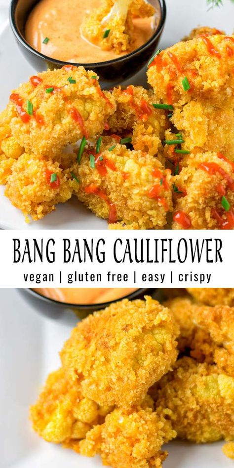 This Bang Bang Cauliflower is crispy and easy to make. Perfect flavor match between spicy and sweet. A keeper that the whole family will love and no one could tell it is vegan. #vegan #dairyfree #glutenfree #vegetarian #dinner #lunch #mealprep #contentednesscooking #bangbangcauliflower #budgetmeals