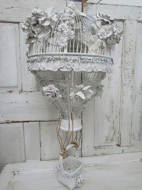 Ornate Birdcage Hot Air Balloon Embellished With Handmade Plaster Dipped Flowers All White Shabby Chic Bird Cage Anita Spero Design Beach House Interior Coastal Bedrooms Bird Cage Decor