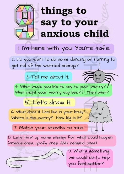 Things to say to help an anxious child…whatever the cause of their fears and worries. Watching your child struggle with anxiety is heartbreaking, especially when youre not sure how to help them. Drawing from current research and best therapeutic practice, this postcard provides nine simple,