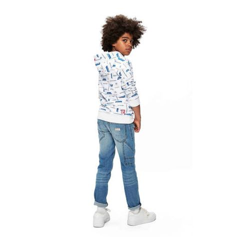 Retour Denim hoodie James met all over print witblauwrood