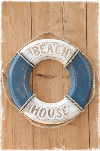 Reddingsboei Beach House Blauw 40cm Decoratie Reddingsboei House
