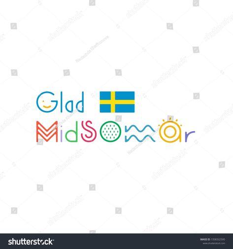 Glad Midsommar Lettering Inscription Card Kort Glad Midsommar