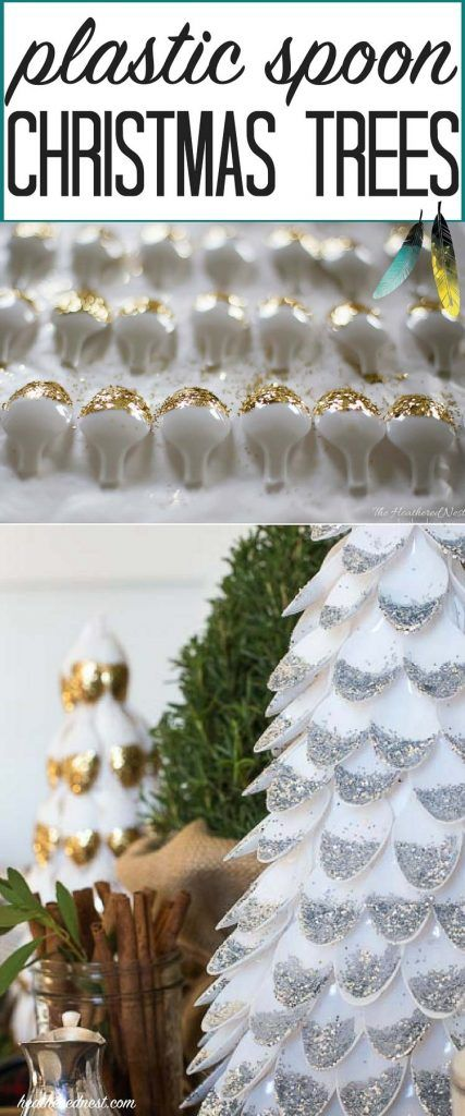Cut plastic spoons in half. Add glitter. & Magic! DIY Christmas Decor!