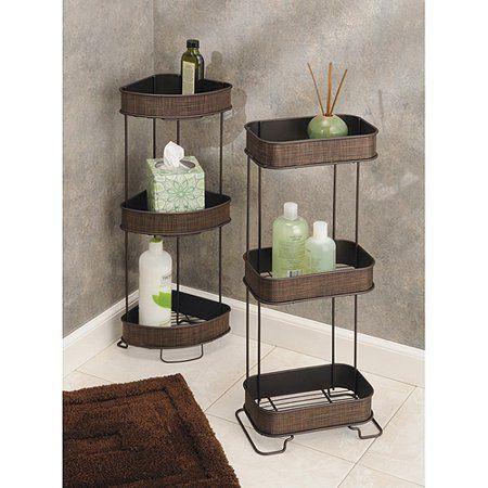 Interdesign Twillo Free Standing Bathroom Corner Storage Shelves