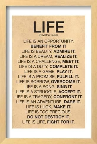 Framed Poster: Mother Teresa Life Quote Poster : 19x13in
