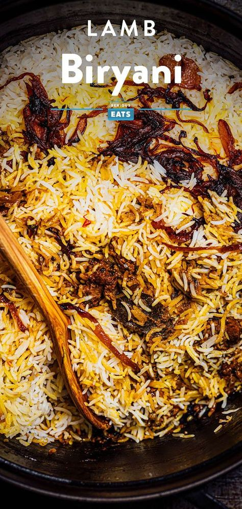 Biryanis comprise a category of highly aromatic rice and meat dishes, typically served during special occasions. Their emphasis lies in carefully building up layers of aromas and flavors and celebrating combinations of textures and colors—in a good biryani, every aspect of the dish is splendidly executed. Let's take a closer look at what makes a biryani so special. #Biryani #InternationalFlavors #SouthAsianCuisine #SeriousEats Lamb Recipes, Indian Food Recipes, Lamb Biryani Recipes, Great Recipes, Favorite Recipes, Amazing Recipes, Delicious Recipes, Food Dishes, Main Dishes