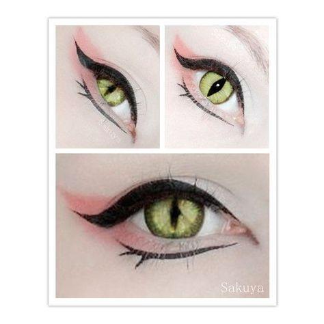 kitsune eye make up inspiration circle lenses color contact cosplay fox Cat Makeup, Makeup Art, Beauty Makeup, Makeup Ideas, Pink Makeup, Anime Eye Makeup, Makeup Style, Makeup Tutorials, Makeup Tips