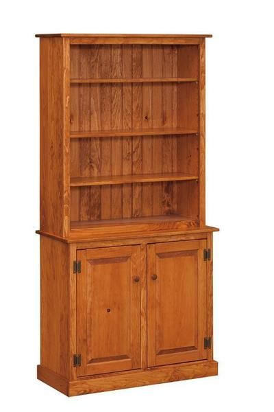 Amish Pine Bookcase With Cabinet Doors Furniture Cottage Style