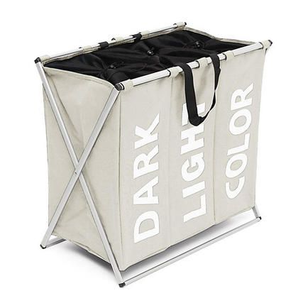 Laundry Basket Bag Organizer Foldable Washing 3 Section Metal X