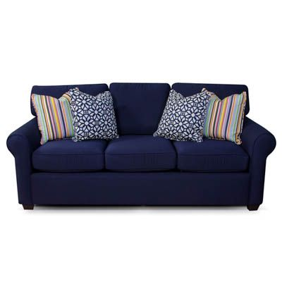 Sofa Pillows You ull adore the casual fort you ull get from this Sunbrella Navy Sofa A resilient spring foundation provides an extra level of support and the loose