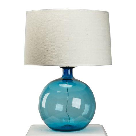 Handblown Aqua Blue Lamp   Blue glass lamp, Farmhouse table