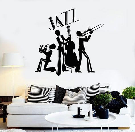 Vinyl Wall Decal Jazz Band Musical Room Decor Music Stickers