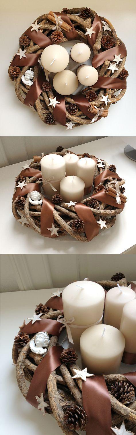 Do it yourself Advent Wreath gute Idee, die Kerzen innen zu platzieren, dann wackeln sie nicht sooo