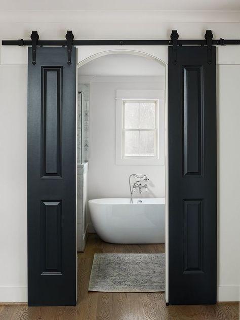Modern Farmhouse Bathroom Custom Barn Doors - Painted Blue Black by Farrow and Ball