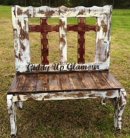 Handmade Rustic Two Cross Bench In Maroon And White Pallet Shelves Pallet Furniture Diy Pallet Projects