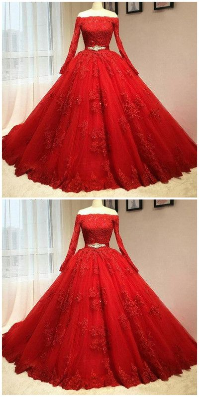Custom Made Red Lace Prom Dress Long Sleeves Evening Dress Off