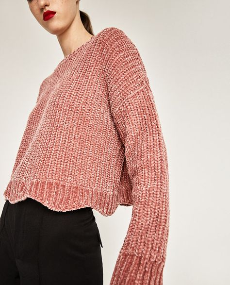 ZARA - KOLLEKTION SS/17 - CROPPED SWEATER MED RUND HALS