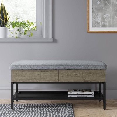 Peachy Loring Storage Bench Vintage Oak Project 62 Vintage Brown Pabps2019 Chair Design Images Pabps2019Com