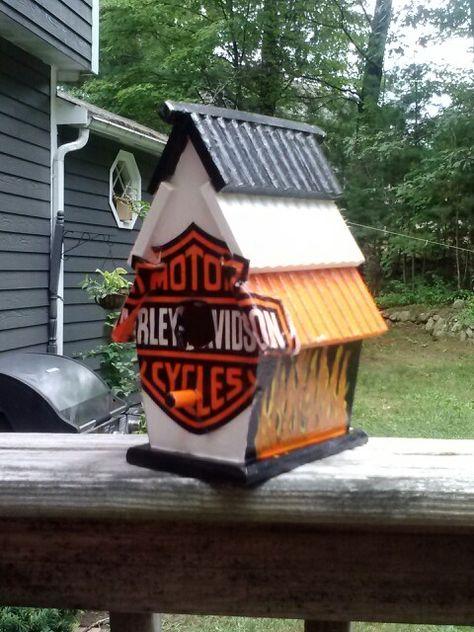 Decorative Wood Harley Motorcycle Biker Bar Bird House Route 66 Club Bird Feede