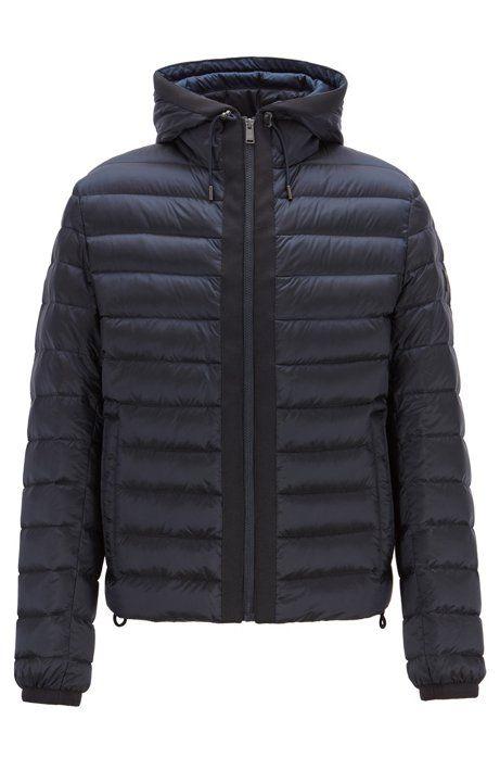 Hooded Blouson Jacket In Down Filled Water Repellent Fabric Dark Blue Daunenjacke Hugo Boss Jacken
