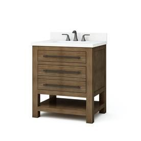 Allen Roth Kennilton 30 In Gray Oak Single Sink Bathroom Vanity With Carrera White Engineered Stone Top Lowes Com Bathroom Sink Vanity Single Sink Bathroom Vanity White Sink