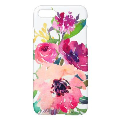 #Girly Watercolor Floral Pink Red Roses Zazzle iPhone 7 Case - #girly #iphone #cases