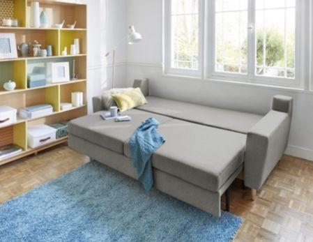 Canape Convertible 4 Places Ostende Tissu Gris Clair Canapes But Decoration Maison Canape Canape Convertible