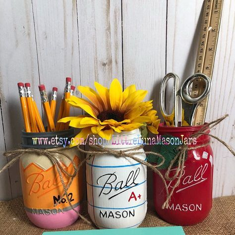 Unique custom hand painted and decorated by LittleLunaMasonJars